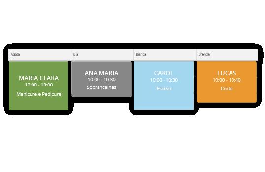 Diferentes cores na agenda online de salão